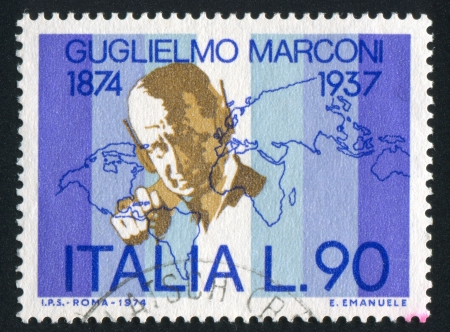 ITALY - CIRCA 1974: stamp printed by Italy, shows Marconi and world map, circa 1974