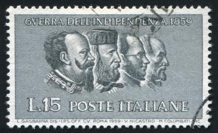 camillo: ITALY - CIRCA 1959: stamp printed by Italy, shows Victor Emmanuel II, Giuseppe Garibaldi, Camillo Benso conte di Cavour, Giuseppe Mazzini, circa 1959