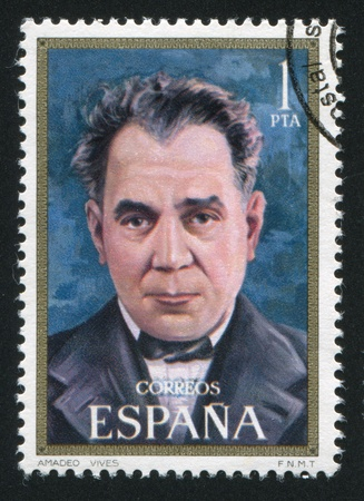 SPAIN - CIRCA 1971: stamp printed by Spain, shows Amadeo Vives, circa 1971 Imagens - 15849970