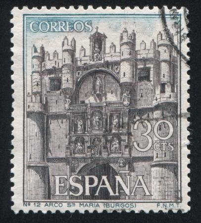 window seal: SPAIN - CIRCA 1964: stamp printed by Spain, shows Facade of Santa Maria, circa 1964 Editorial