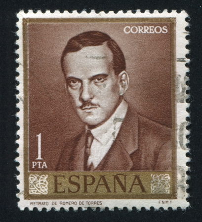 SPAIN- CIRCA 1965: stamp printed by Spain, shows portrait of Julio Romero de Torres, circa 1965 Stock Photo - 15849902