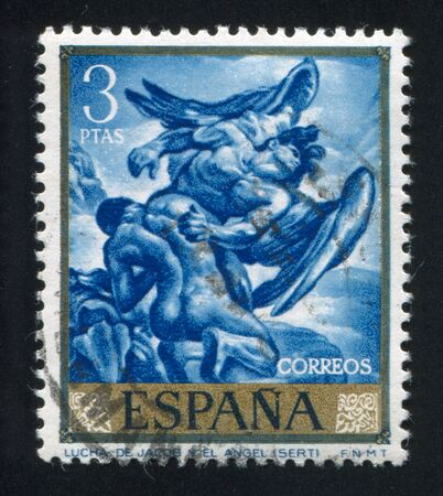 jacob: SPAIN - CIRCA 1966: stamp printed by Spain, shows Jacob Wrestling with the Angel, circa 1966