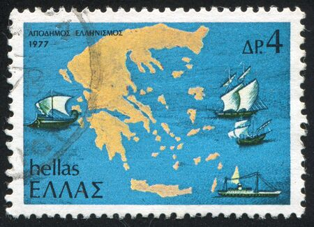 GREECE - CIRCA 1977: stamp printed by Greece, shows Map of Greece and Ships, circa 1977 Stock Photo - 15944673