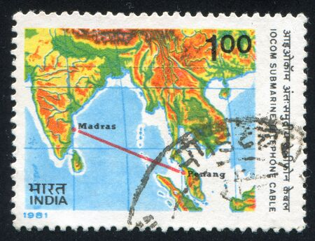 INDIA - CIRCA 1981: stamp printed by India, shows map with continent and ocean, circa 1981 Stock Photo - 15944646