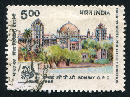 INDIA - CIRCA 1988: stamp printed by India, shows Bombay building, circa 1988 Stock Photo - 15944668