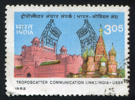 INDIA - CIRCA 1982: stamp printed by India, shows famous buildings, Saint Basil's Cathedral, Troposcatter, circa 1982 Stock Photo - 15944561