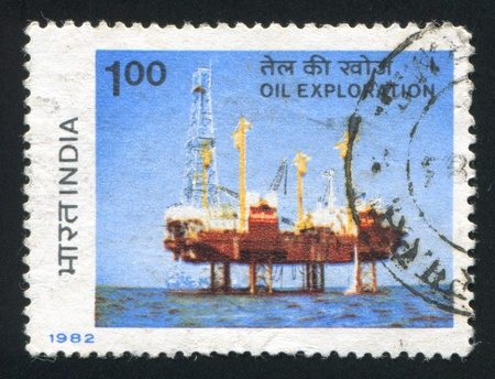 sagar: INDIA - CIRCA 1982: stamp printed by India, shows Sagar Samrat Drilling Rig, circa 1982