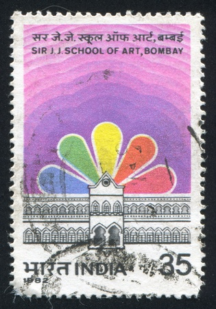 INDIA - CIRCA 1982: stamp printed by India, shows Sir Jamsetjee Jejeebhoy School of Art, circa 1982 Stock Photo - 15944593