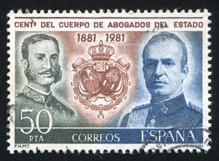 SPAIN - CIRCA 1981: stamp printed by Spain, shows King Alfonso XII and Juan Carlos, circa 1981 Stock Photo - 15944705