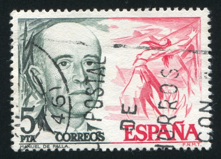 melodist: SPAIN - CIRCA 1976: stamp printed by Spain, shows Manuel de Falla and Fire Dance from El Amor Brujo, circa 1976 Editorial