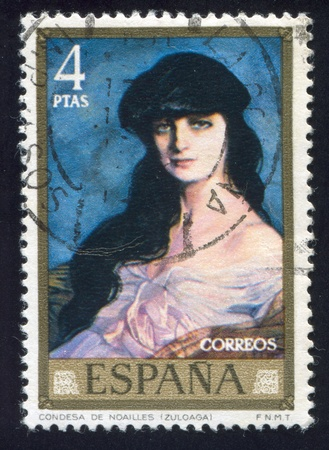 SPAIN - CIRCA 1971: stamp printed by Spain, shows Countess of Noailles, circa 1971 Stock Photo - 15944588