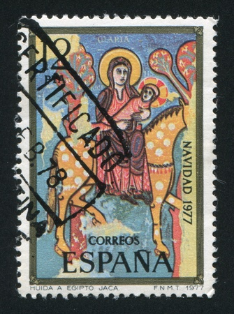 SPAIN - CIRCA 1977: stamp printed by Spain, shows Flight into Egypt, circa 1977