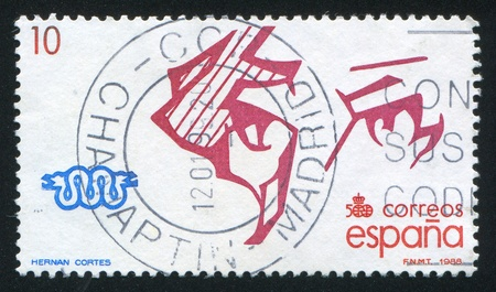 conquistador: SPAIN - CIRCA 1988: stamp printed by Spain, shows Hernan Cortes, circa 1988