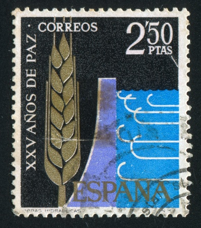 waterworks: SPAIN - CIRCA 1964: stamp printed by Spain, shows Waterworks, circa 1964 Editorial