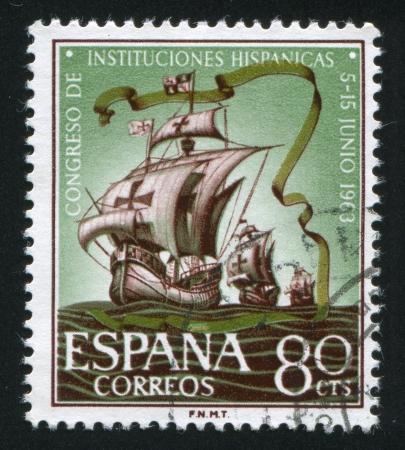 SPAIN - CIRCA 1963: stamp printed by Spain, shows Fleet of Columbus, circa 1963 Stock Photo - 15944609