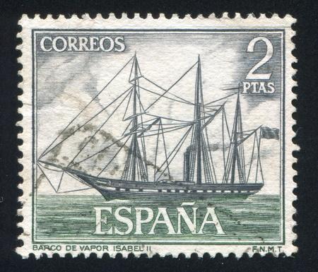 isabel: SPAIN - CIRCA 1964: stamp printed by Spain, shows Steamer, Isabel II, circa 1964