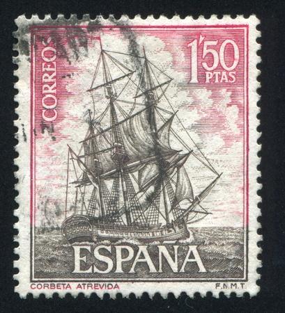 corvette: SPAIN - CIRCA 1964: stamp printed by Spain, shows Corvette Atrevida, circa 1964