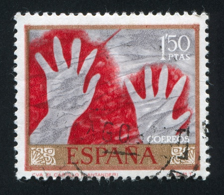 SPAIN - CIRCA 1967: stamp printed by Spain, shows Hands, circa 1967