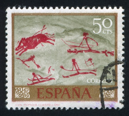SPAIN - CIRCA 1967: stamp printed by Spain, shows Boar Hunt, circa 1967 Stock Photo - 15944562