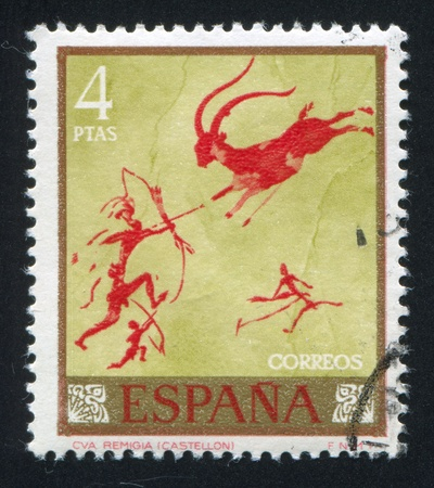 SPAIN - CIRCA 1967: stamp printed by Spain, shows Hunters And Gazelle, circa 1967