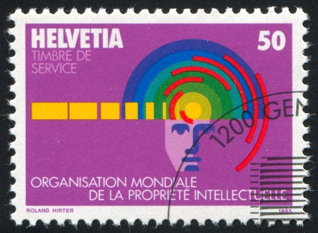 SWITZERLAND - CIRCA 1985: stamp printed by Switzerland, shows Intellectual Property Organization, circa 1985 Stock Photo - 15944549