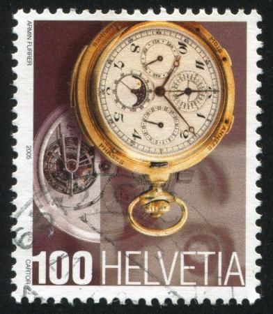 escapement: SWITZERLAND - CIRCA 2005: stamp printed by Switzerland, shows Swiss Watch, circa 2005 Editorial