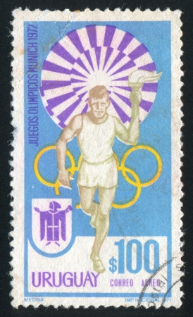 bearer: URUGUAY - CIRCA 1972: stamp printed by Uruguay, shows Torch Bearer, circa 1972