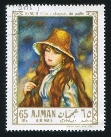 AJMAN - CIRCA 1976: stamp printed by Ajman, shows Girl in a Straw Hat by Renoir, circa 1976 Stock Photo - 16223942