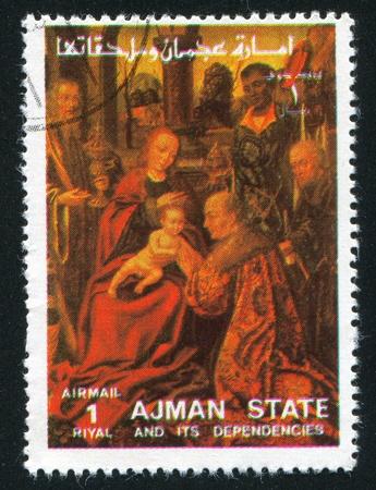 ajman: AJMAN - CIRCA 1976: stamp printed by Ajman, shows Virgin Mary and Child, circa 1976