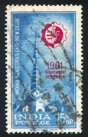 INDIA - CIRCA 1961: stamp printed by India, shows Gate at Fair, circa 1961 Stock Photo - 16223771