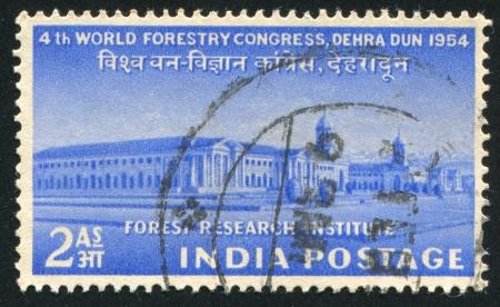 INDIA - CIRCA 1954: stamp printed by India, shows Forest Research Institute, Dehra Dun, circa 1954 Stock Photo - 16223870