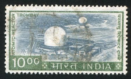 atomic center: INDIA - CIRCA 1965: stamp printed by India, shows Trombay Atomic Center, circa 1965