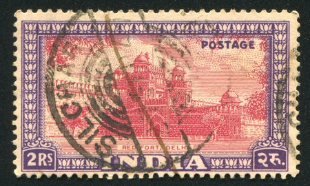INDIA - CIRCA 1949: stamp printed by India, shows Red Fort, circa 1949 Stock Photo - 16223950