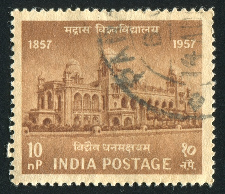INDIA - CIRCA 1957: stamp printed by India, shows Madras University, circa 1957 Stock Photo - 16223890