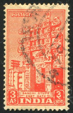 sanchi: INDIA - CIRCA 1949: stamp printed by India, shows Sanchi Stupa, circa 1949