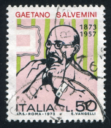 ITALY - CIRCA 1973: stamp printed by Italy, shows Gaetano Salvemini, circa 1973 Stock Photo - 16223722
