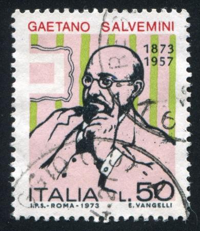 ITALY - CIRCA 1973: stamp printed by Italy, shows Gaetano Salvemini, circa 1973 Stock Photo - 16223722