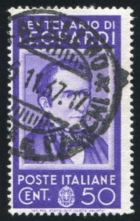 ITALY - CIRCA 1937: stamp printed by Italy, shows Count Giacomo Leopardi, circa 1937 Stock Photo - 16223717