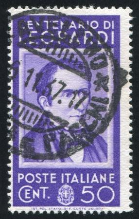 ITALY - CIRCA 1937: stamp printed by Italy, shows Count Giacomo Leopardi, circa 1937 Stock Photo - 16223717