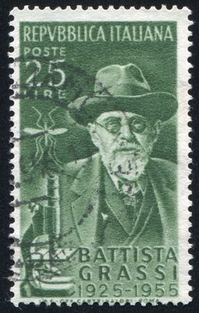 ITALY - CIRCA 1955: stamp printed by Italy, shows Batista Grassi, circa 1955 Stock Photo - 16223724