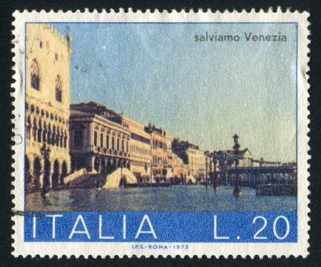 window seal: ITALY - CIRCA 1973: stamp printed by Italy, shows Schiavone Shore, circa 1973