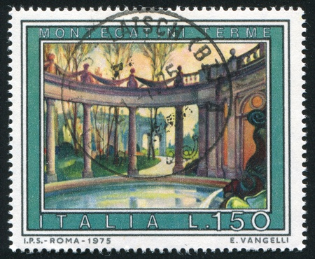 ITALY - CIRCA 1975: stamp printed by Italy, shows Bath in Montacatini, circa 1975
