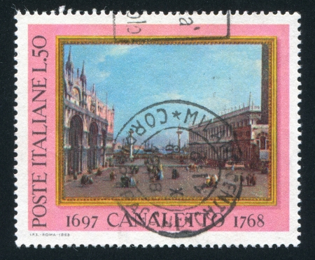 ITALY - CIRCA 1968: stamp printed by Italy, shows The small Saint Mark Place by Canaletto, circa 1968 Stock Photo - 16223959