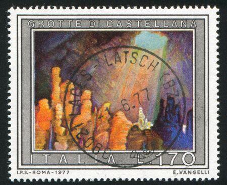 subterranean: ITALY - CIRCA 1977: stamp printed by Italy, shows Castellana Caves, circa 1977 Editorial