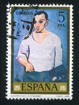 ceramicist: SPAIN - CIRCA 1978: stamp printed by Spain, shows self-portrait of Picasso, circa 1978 Editorial