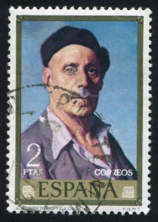 SPAIN - CIRCA 1971: stamp printed by Spain, shows self-portrait of Ignacio Zuloaga, circa 1971 Stock Photo - 16223743