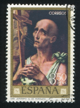 adeptness: SPAIN - CIRCA 1970: stamp printed by Spain, shows Saint Jerome (Luis de Morales), circa 1970