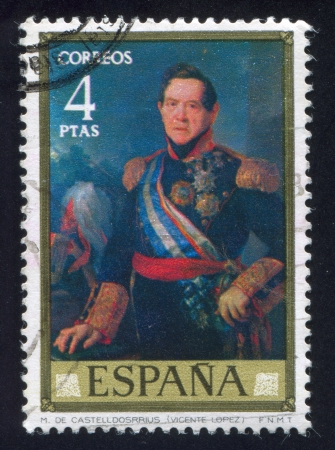 SPAIN - CIRCA 1973: stamp printed by Spain, shows Marshal Castelldosrrius (Vicente Lopez), circa 1973 Stock Photo - 16223882