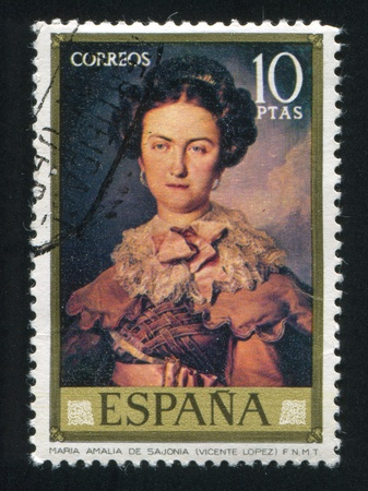 SPAIN - CIRCA 1973: stamp printed by Spain, shows Maria Amalia de Sajonia (Vicente Lopez), circa 1973 Stock Photo - 16223857