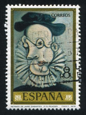pablo: Spagna - CIRCA 1978: timbro stampato dalla Spagna, mostra Jaime Sabartes (Pablo Ruiz Picasso), circa 1978 Editoriali